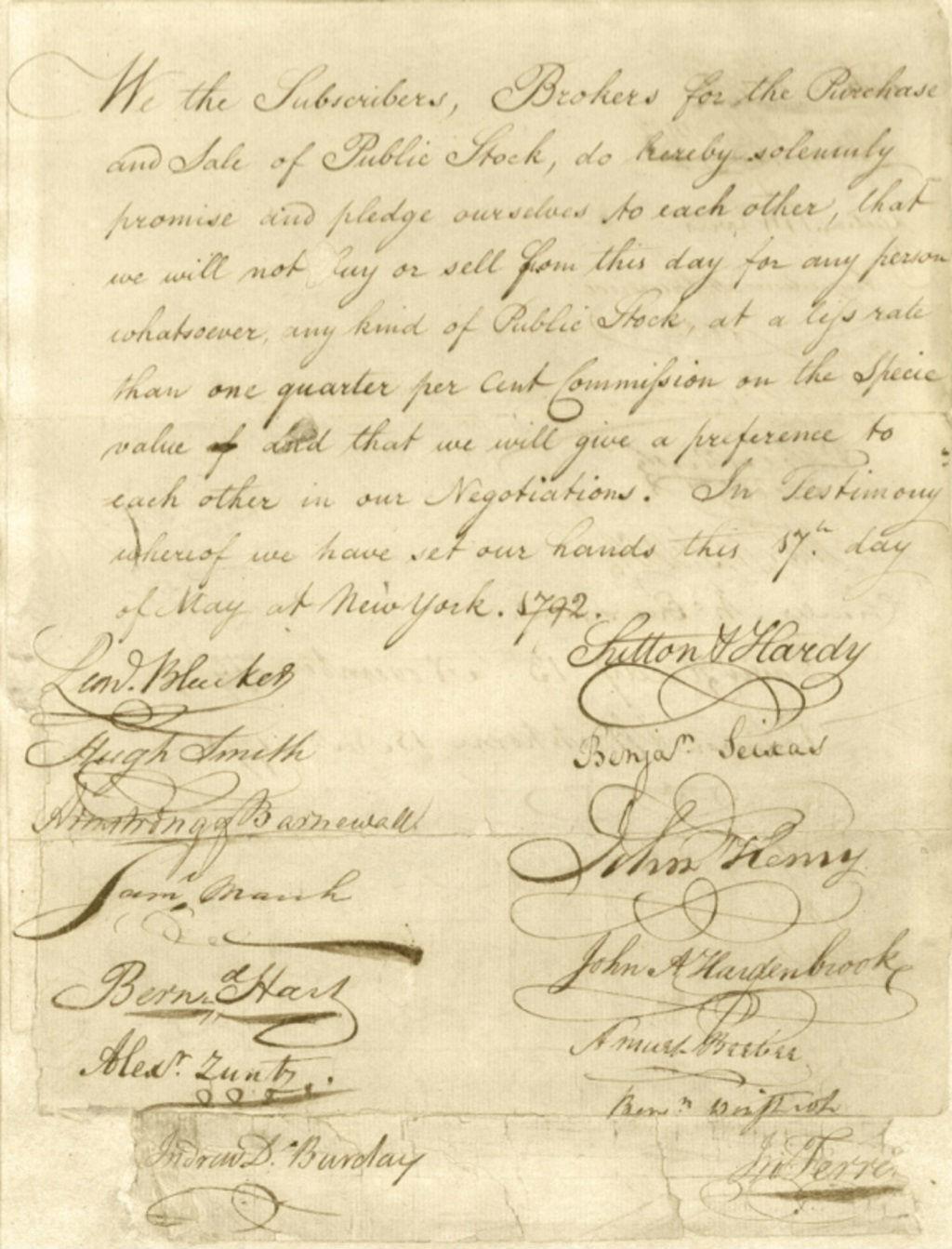 Соглашение под платаном, подписанное 24 Нью-Йоркскими брокерами