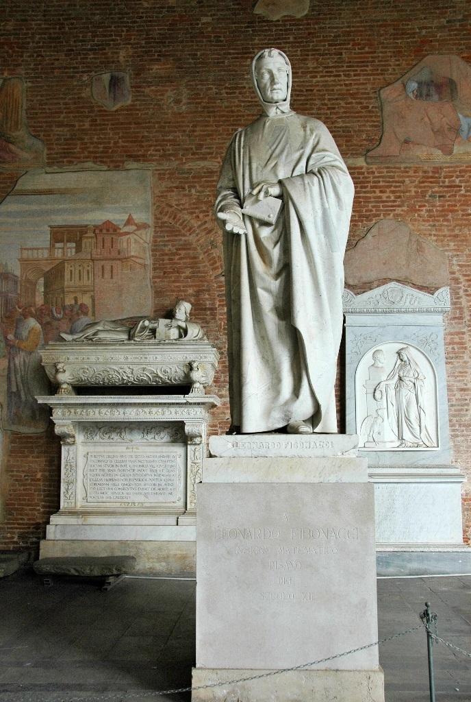 статуя Леонардо Фибоначчи в монастыре исторического кладбища Кампо-Санто