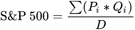 формула для расчета значения индекса S&P 500