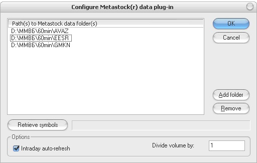 AmiBroker - Configure Metastock(r) data plug-in