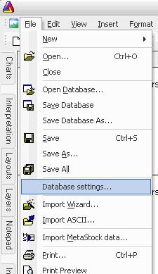 File - Database setting AmiBroker