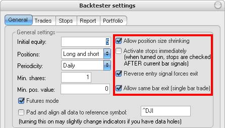 Amibroker - Backtester settings - General