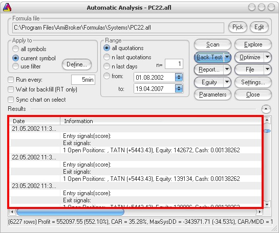 AmiBroker - Automatic analysis - Detailed log
