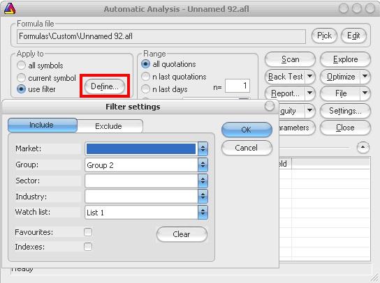 AmiBroker - Automatic Analysis - Filter setting