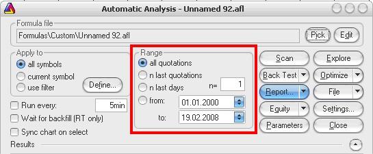 AmiBroker - Automatic Analysis - Range