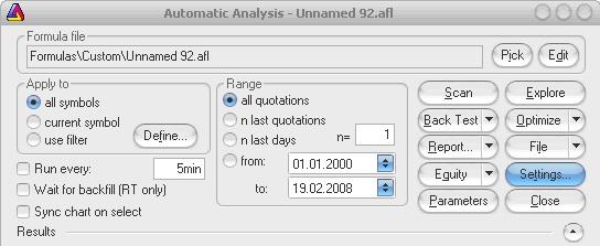 AmiBroker - Automatic Analysis - Settings