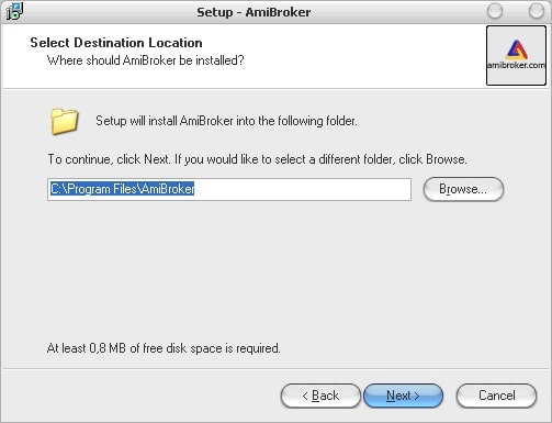 выбор папки для установки программы AmiBroker