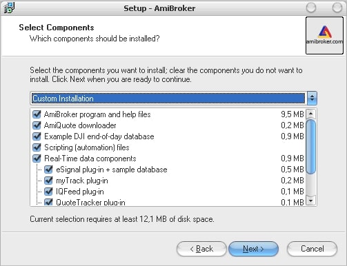 выбор компонентов установки программы AmiBroker